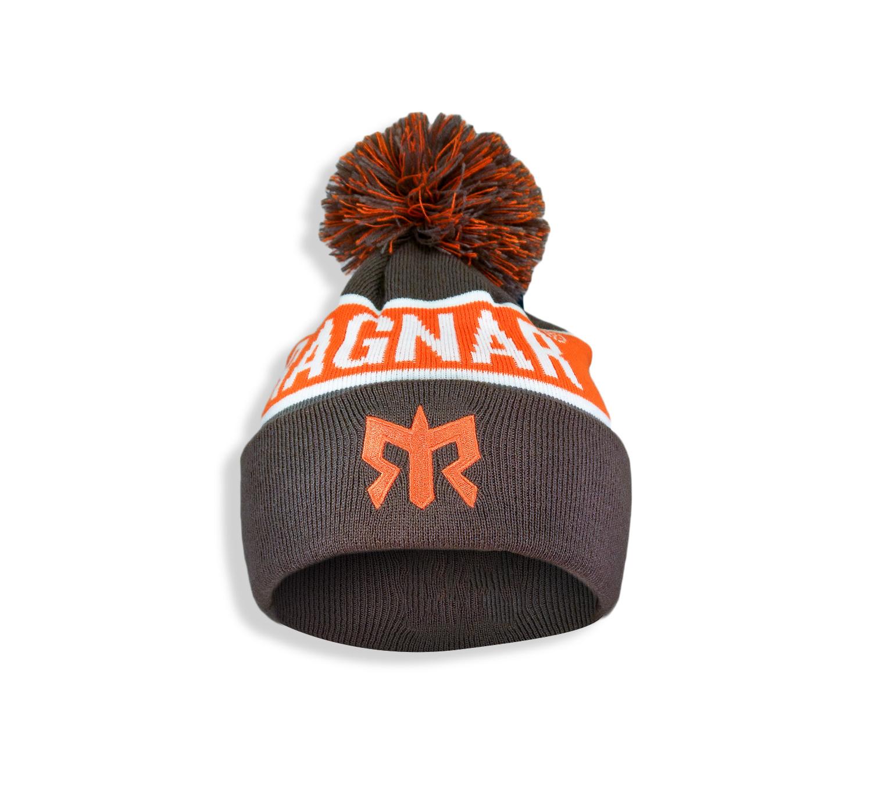 Ragnar Pom Pom Knit Beanie - Orange/Grey/White