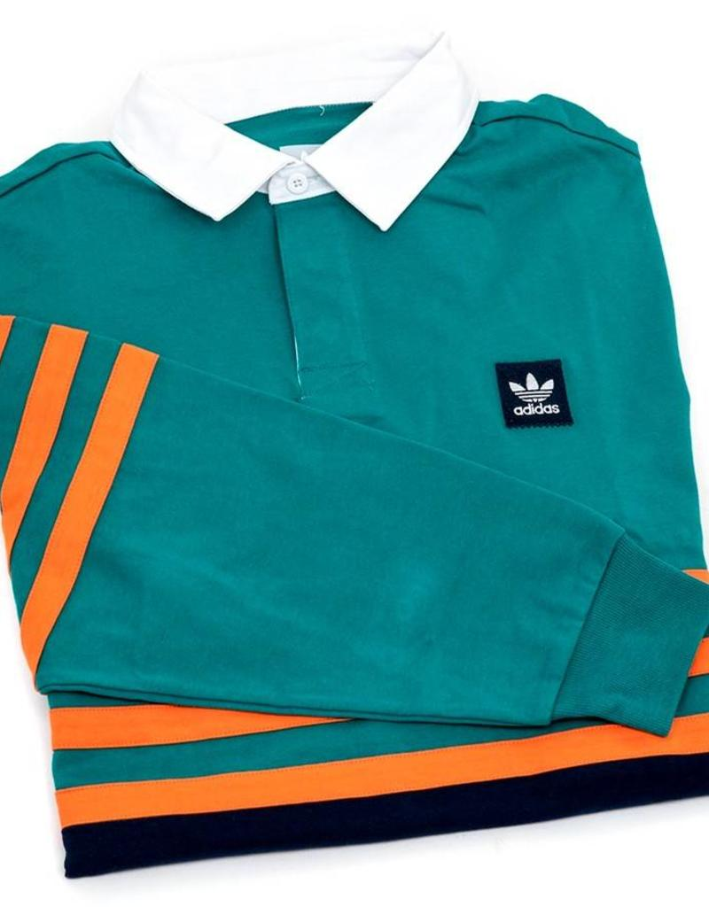 ADIDAS ADIDAS WINCHELL L/S POLO - ACTIVE GREEN/COLLEGIATE NAVY/ORANGE