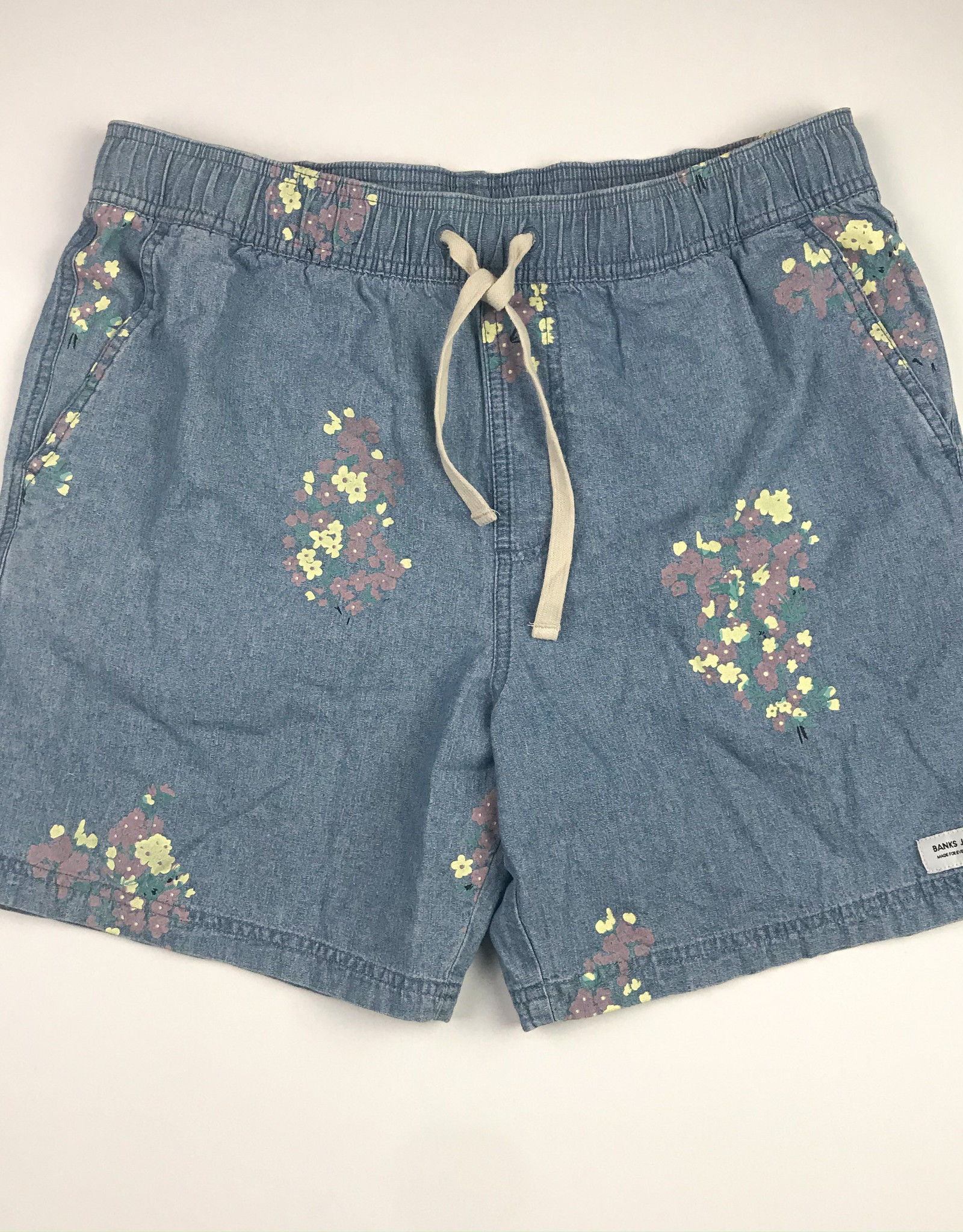 BANKS JOURNAL BANKS JOURNAL FLOWERLY CHAMBRAY ELASTIC WALKSHORT - GLACIER BLUE