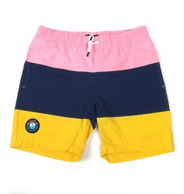 THE QUIET LIFE SOLAR BEACH SHORT - PINK/NAVY/YELLOW  - SIZE 36