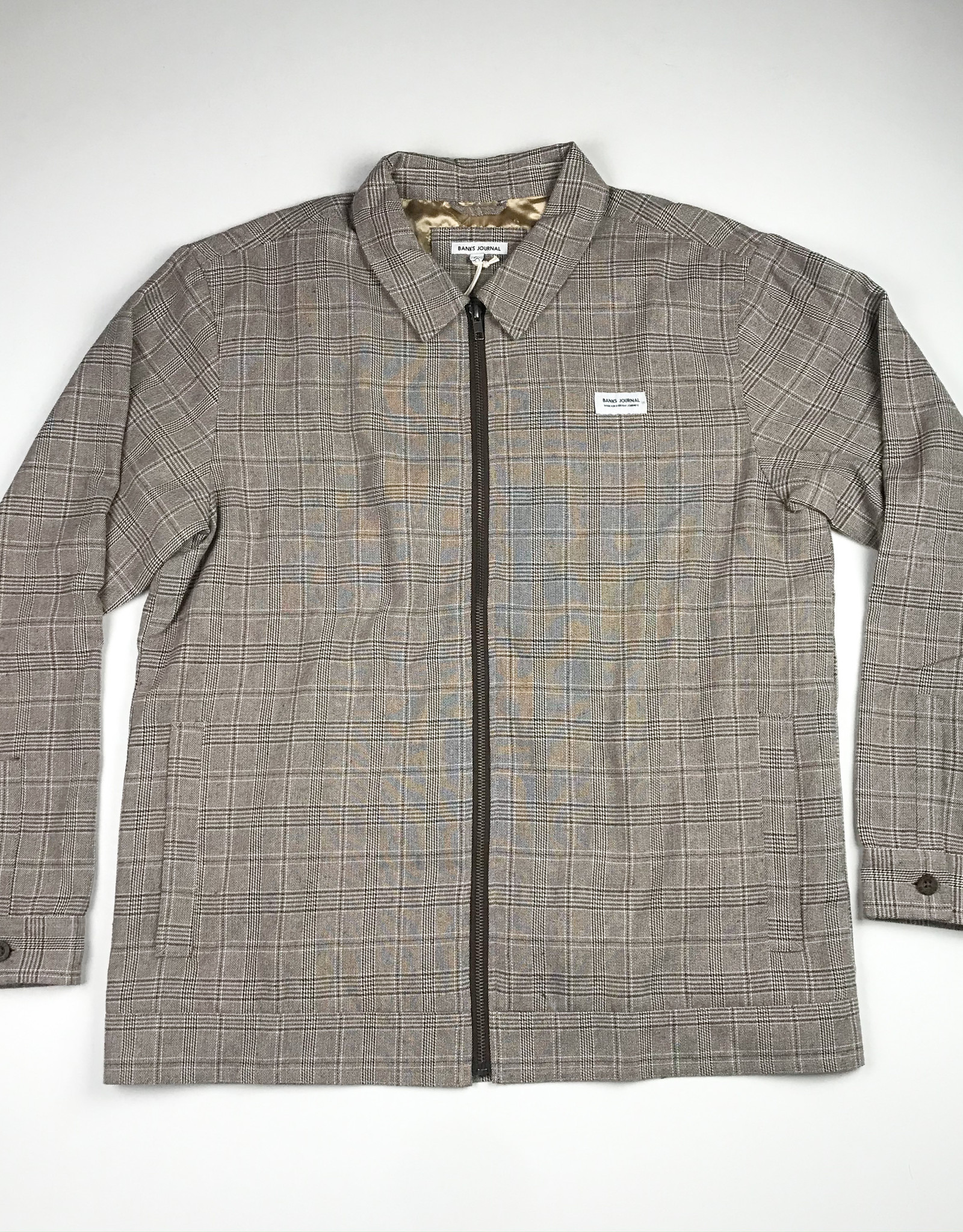 BANKS JOURNAL BANKS MOSELY GINGHAM JACKET - BURNT KHAKI