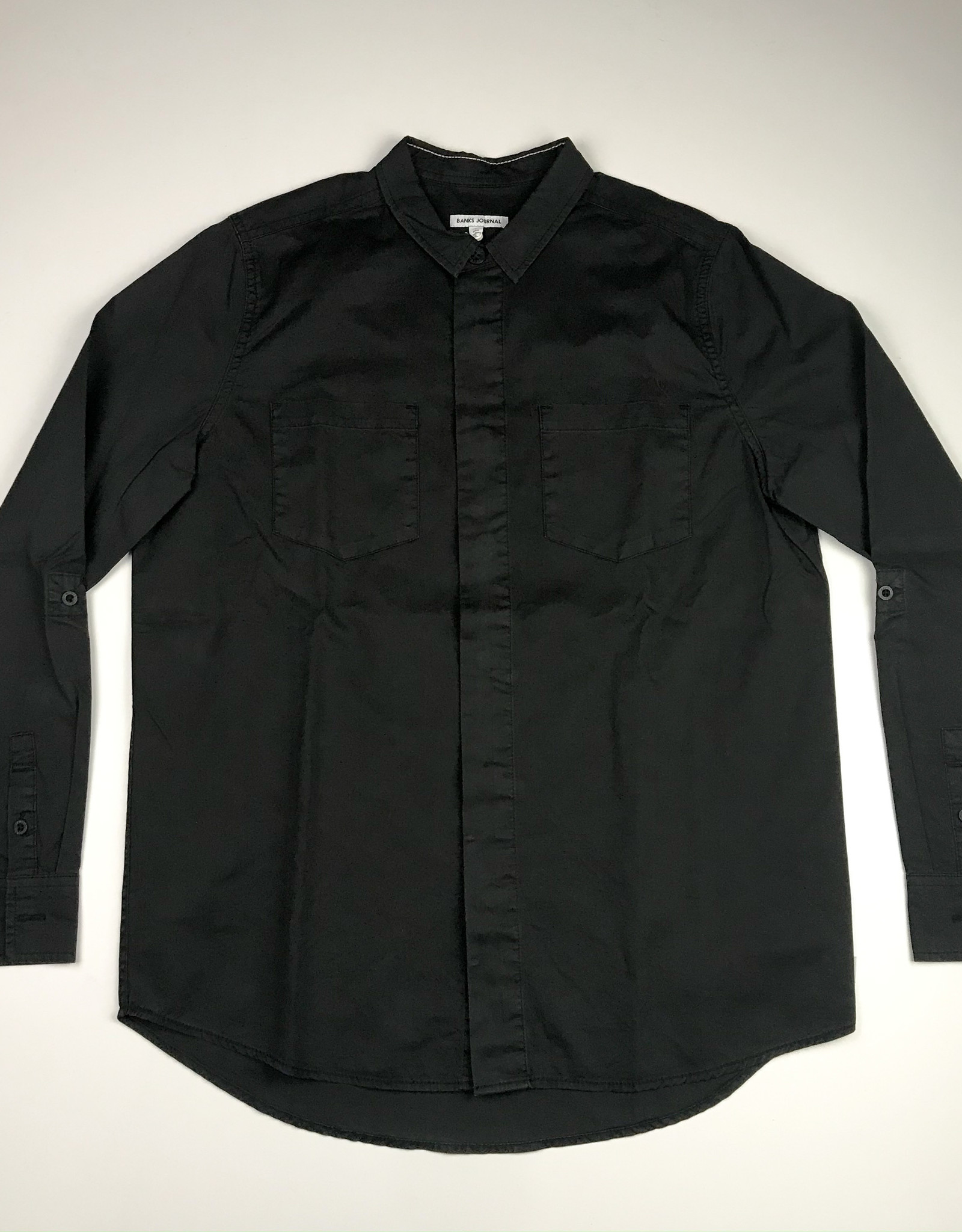 BANKS JOURNAL BANKS BRIGADE L/S BUTTON - DIRTY BLACK