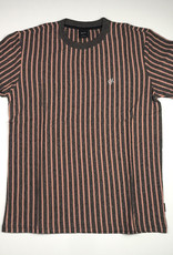 HUF OVERDYED VERT STRIPE S/S TEE - CORAL PINK