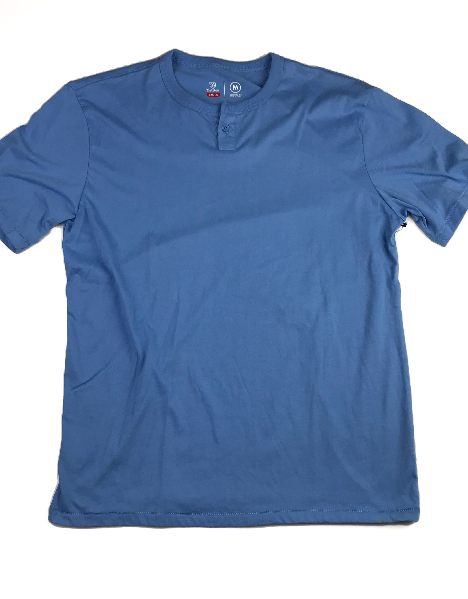 BRIXTON BRIXTON BASIC S/S HENLEY TEE -WASHED ROYAL