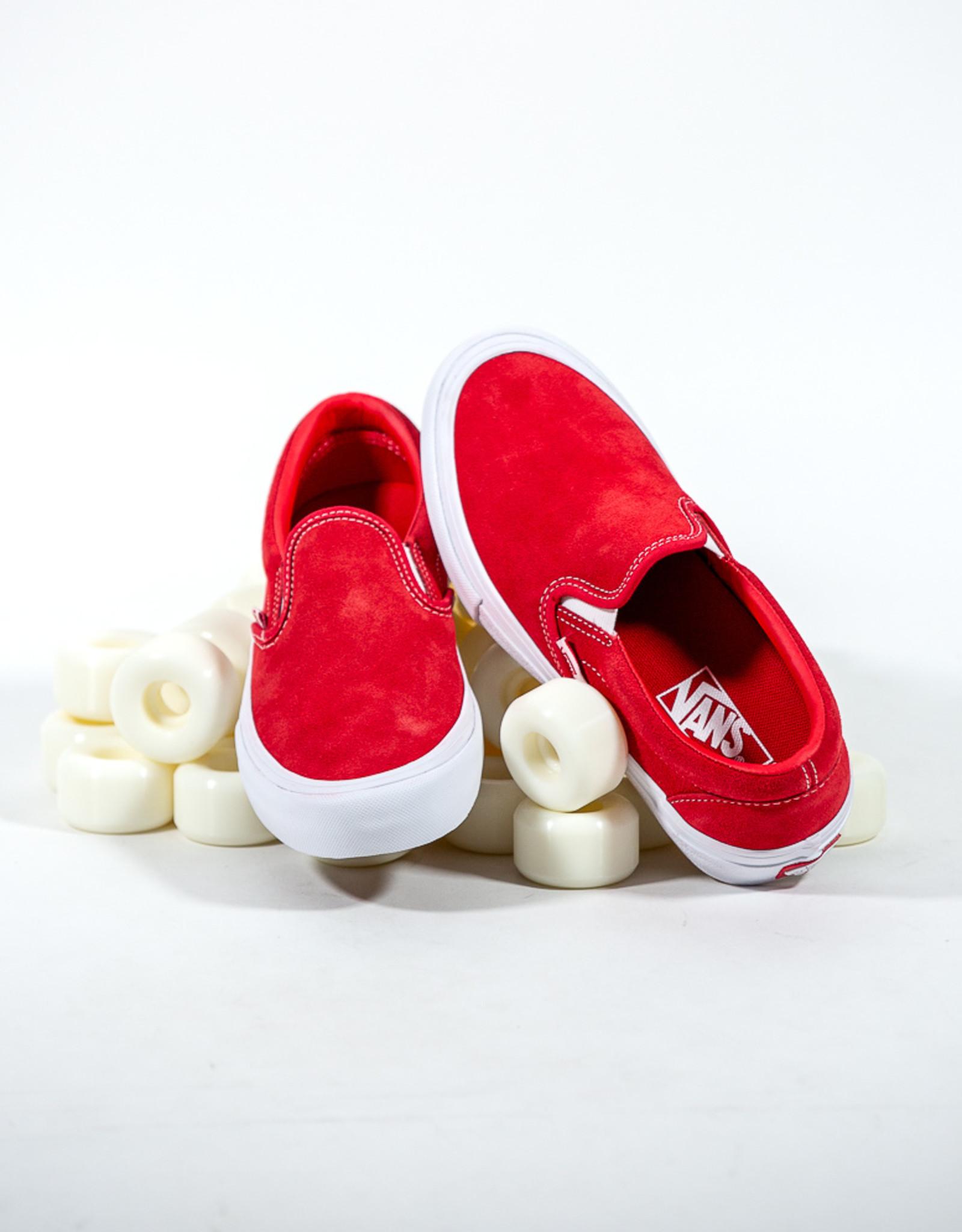 VANS VANS SLIP ON PRO - RED/WHITE SUEDE