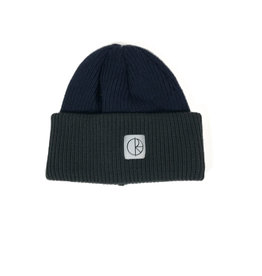 POLAR DOUBLE FOLD MERINO BEANIE - NAVY/GREY