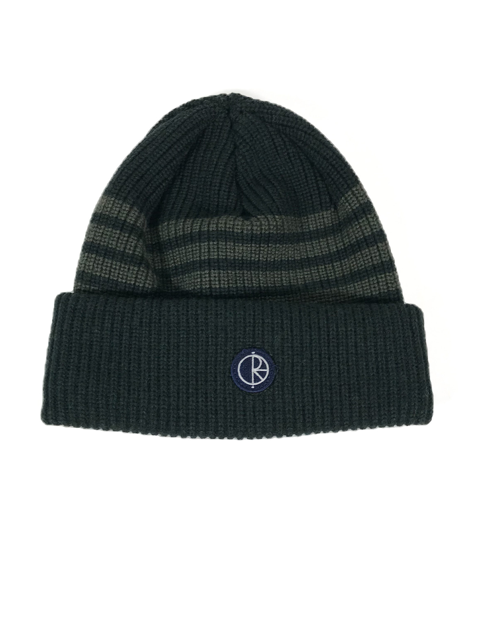 POLAR DOUBLE FOLD MERINO BEANIE - GREEN STRIPE