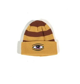 TOY MACHINE EYE STRIPE DOCK BEANIE - MUSTARD