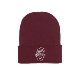 LESS THAN LOCAL LESS THAN LOCAL GOOD THINGS MAROON DOUBLE FOLD BEANIE