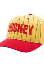 HOCKEY STRIPED SNAPBACK HAT - YELLOW/RED