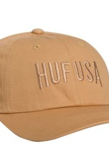HUF TEAM CURVED VISOR 6 PANEL - HONEY MUSTARD