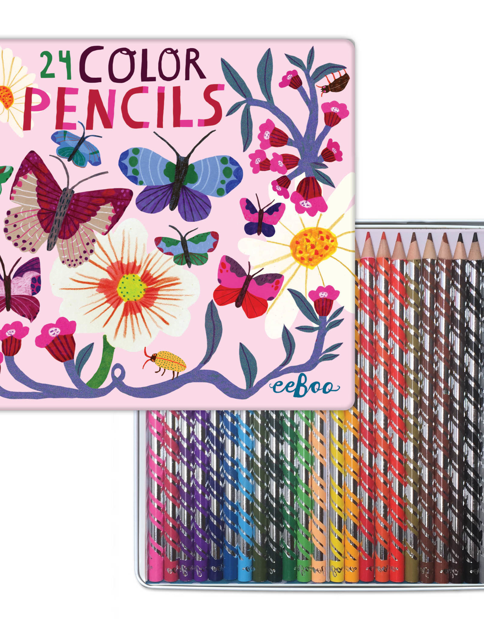 eeBoo Butterflies and Flowers 24 Color Pencils Tin Box