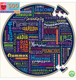 eeBoo 100 Great Words 500pc Round Puzzle