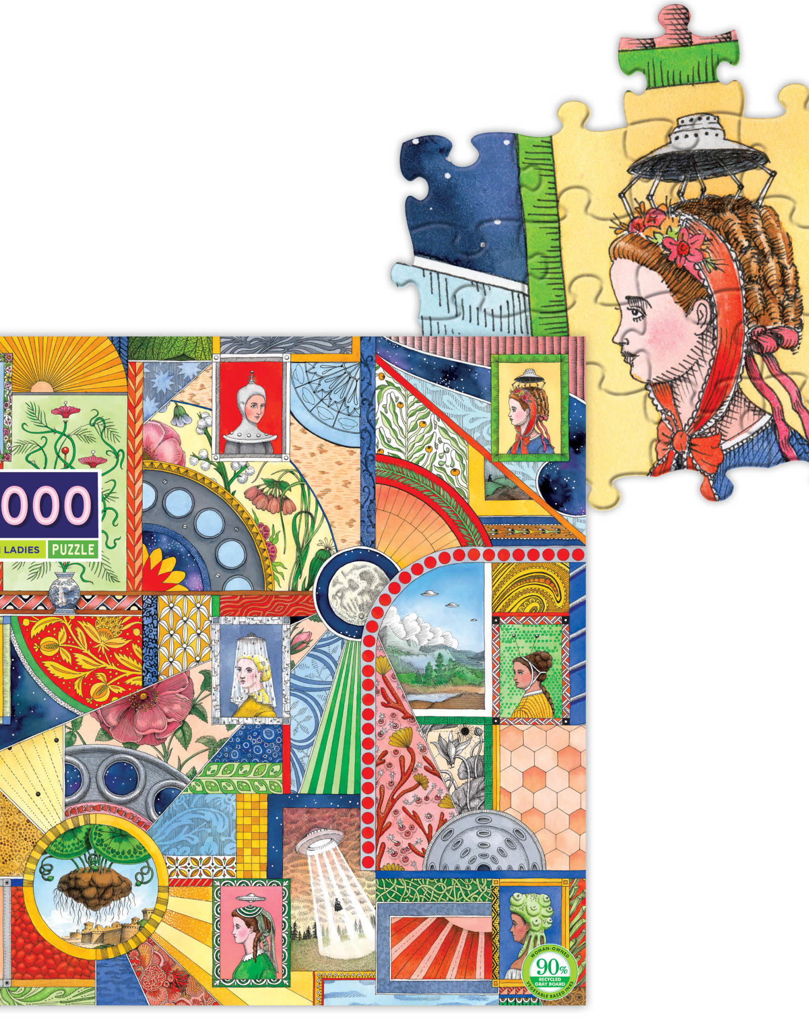 eeBoo UFO Victorian Ladies 1000pc Puzzle