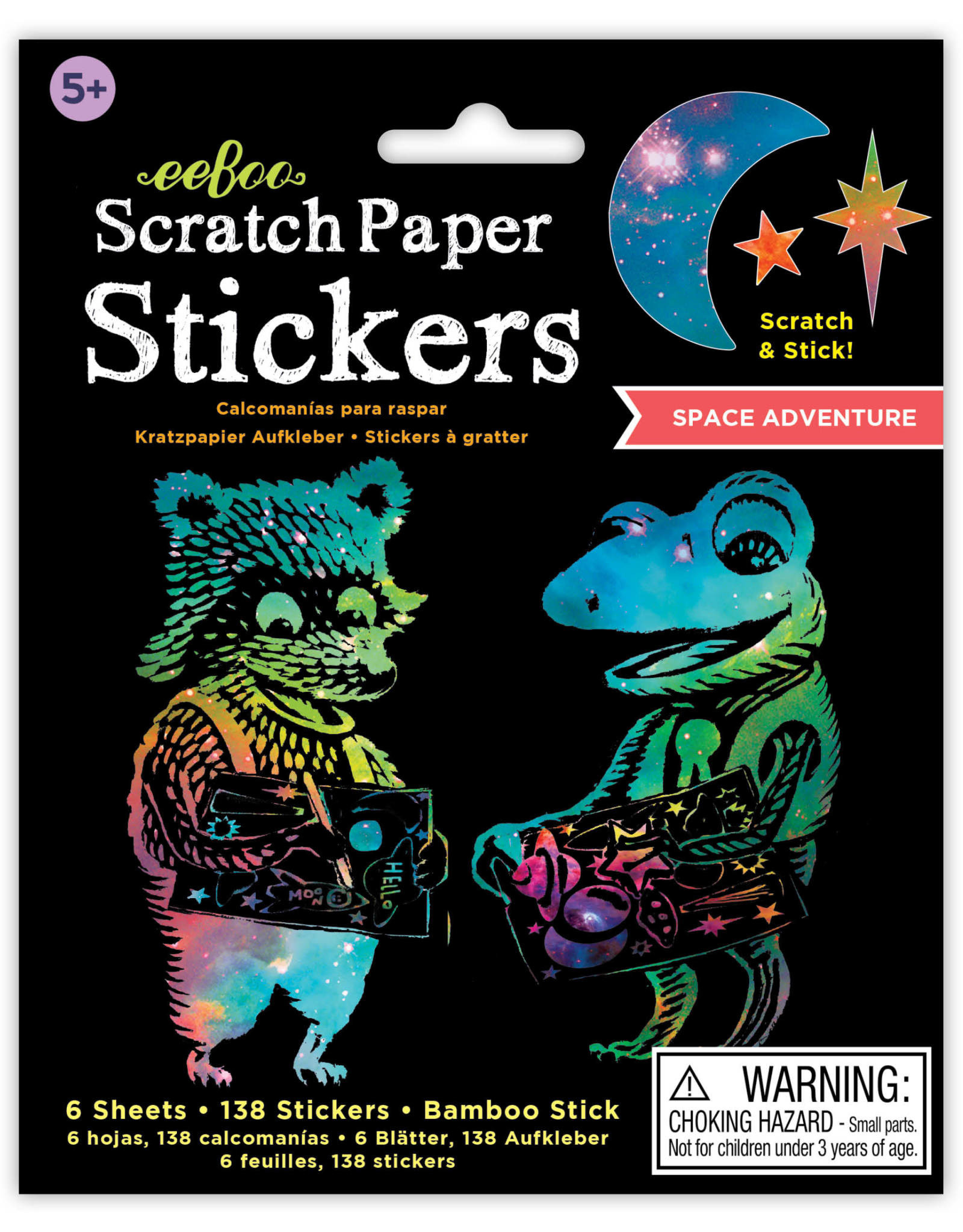 eeBoo Space Adventure Scratch Paper Stickers