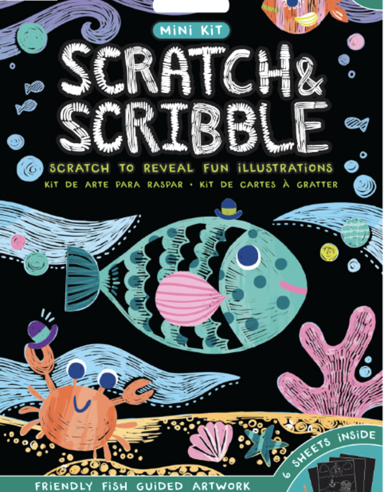 Ooly Mini Scratch & Scribble Art Kit - Friendly Fish