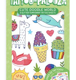 Ooly Tattoo Palooza Temporary Glitter Tattoos - Cute Doodle World