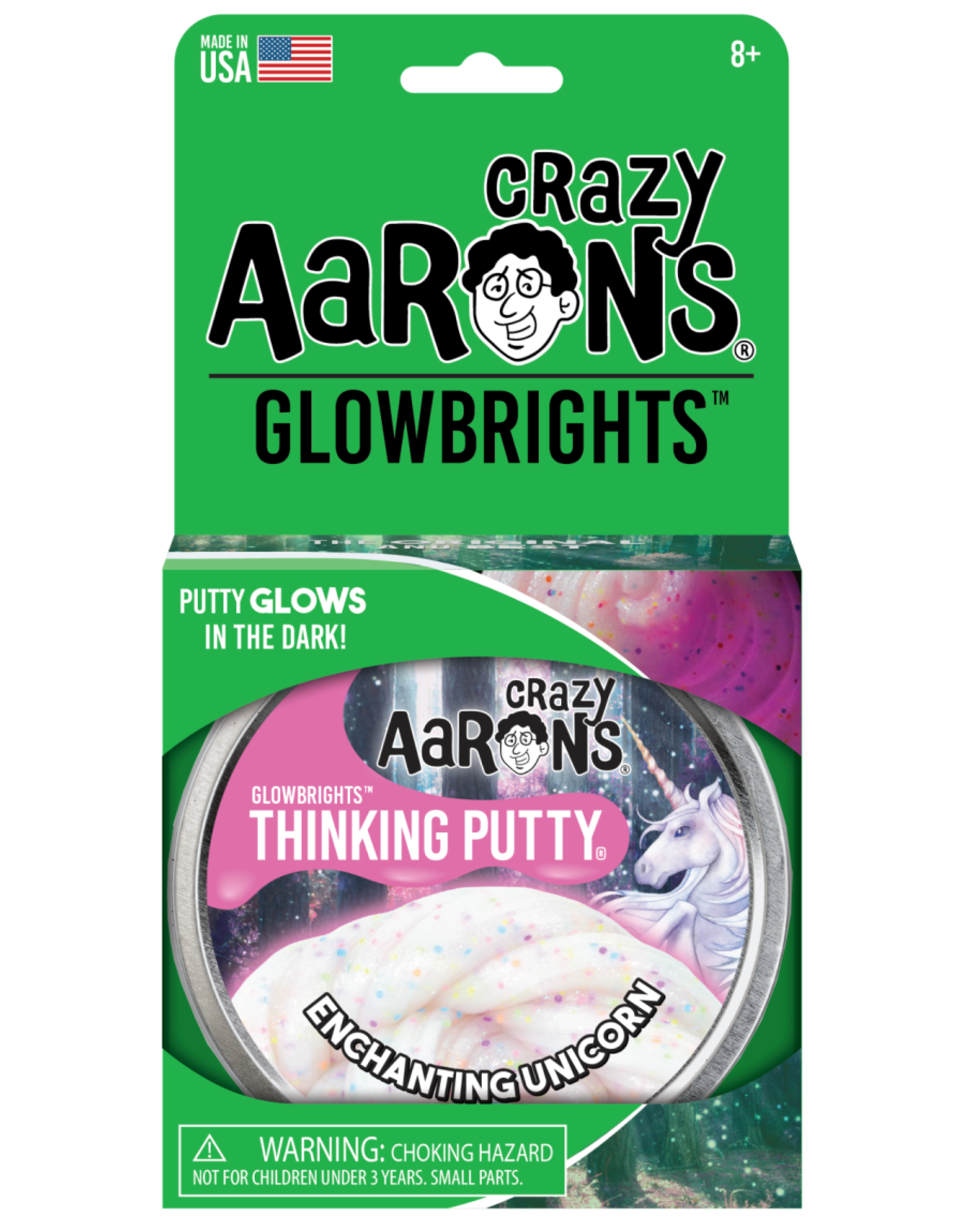"Crazy Aaron's Puttyworld Crazy Aaron's Putty - Glow Enchanting Unicorn 4"" Tin"