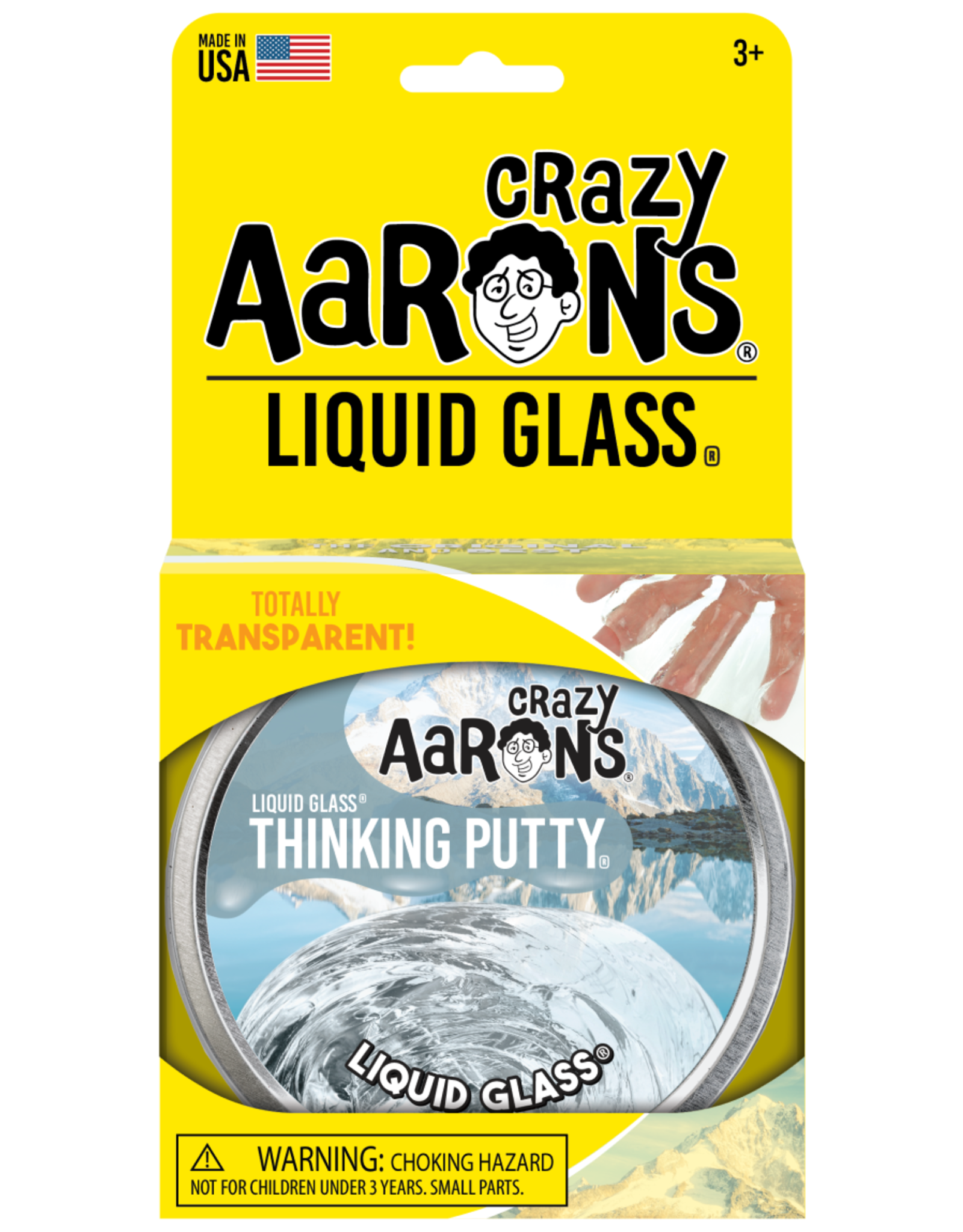 "Crazy Aaron's Puttyworld Crazy Aaron's Putty - Crystal Clear Liquid Glass 4"" Tin"