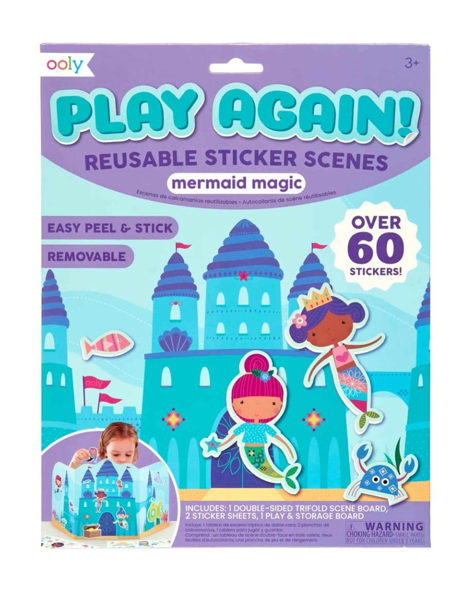 Ooly Play Again! Reusable Sticker Scenes: Mermaid Magic
