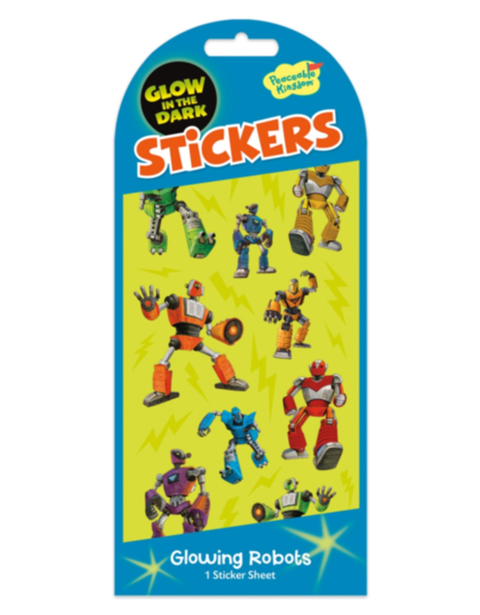 Peaceable Kingdom Stickers - Glow-in-the-Dark Robots