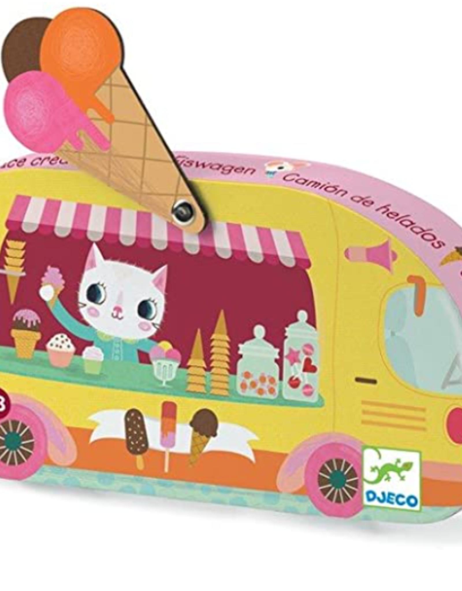 Djeco Mini Silhouette Puzzle 16pc - Ice Cream Truck