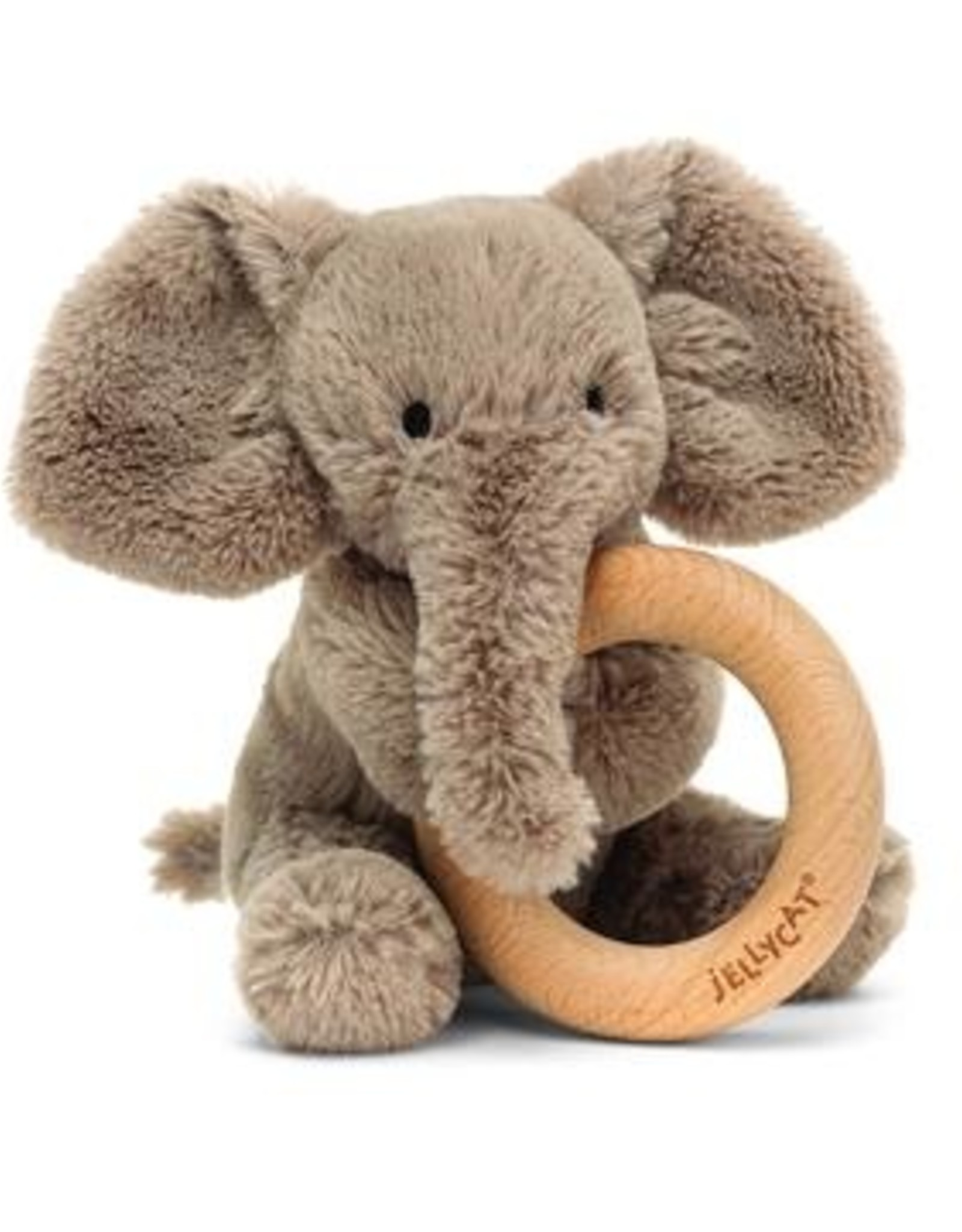 Jellycat Jellycat Smudge Elephant - Wooden Ring Rattle