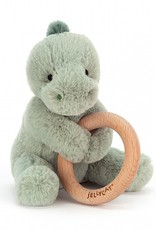 Jellycat Jellycat Puffles Dino - Wooden Ring Rattle