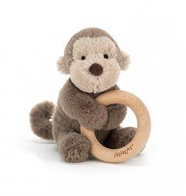 Jellycat Jellycat Bashful Monkey - Wooden Ring Rattle