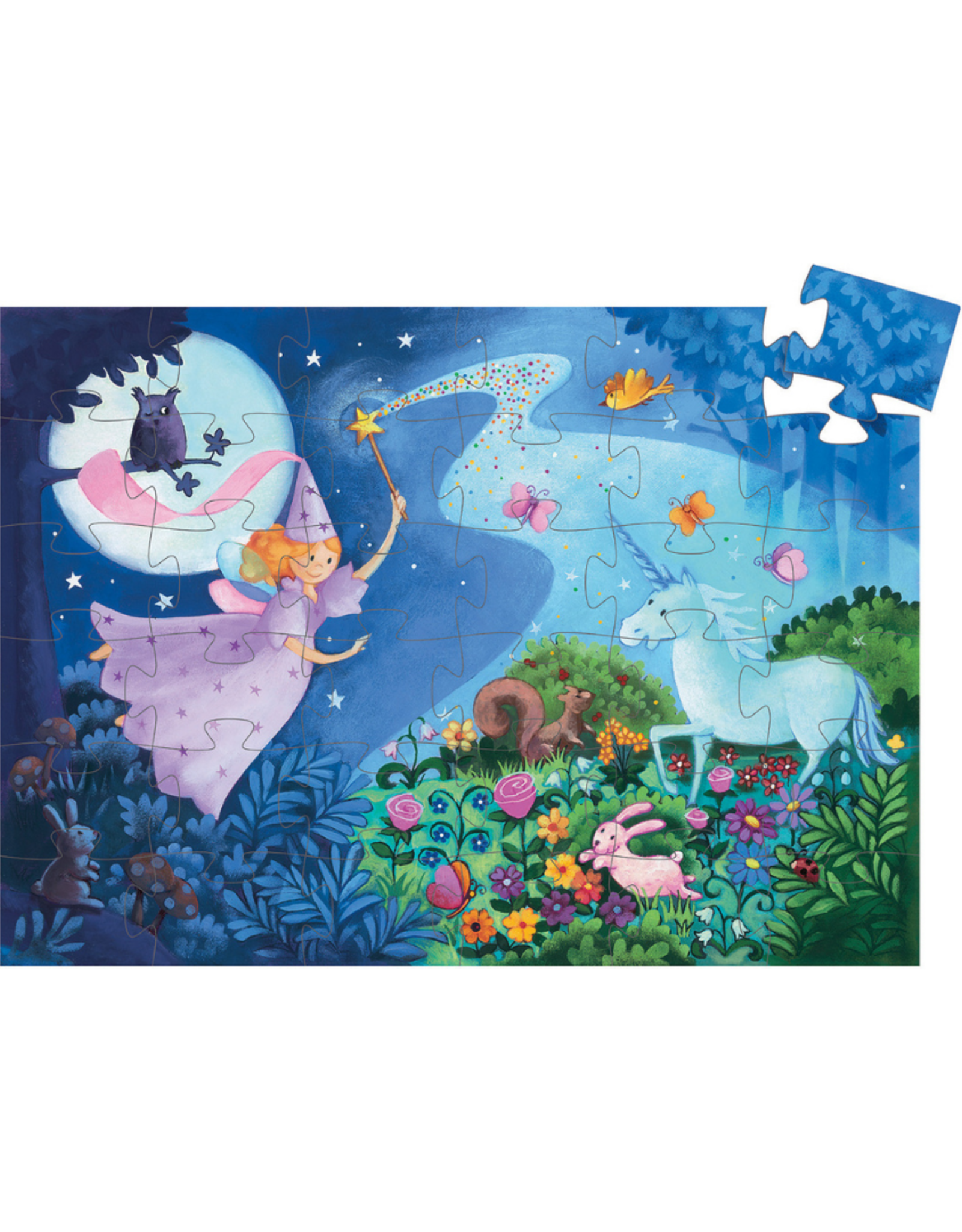Djeco Silhouette Puzzle 36pc - The Fairy and the Unicorn