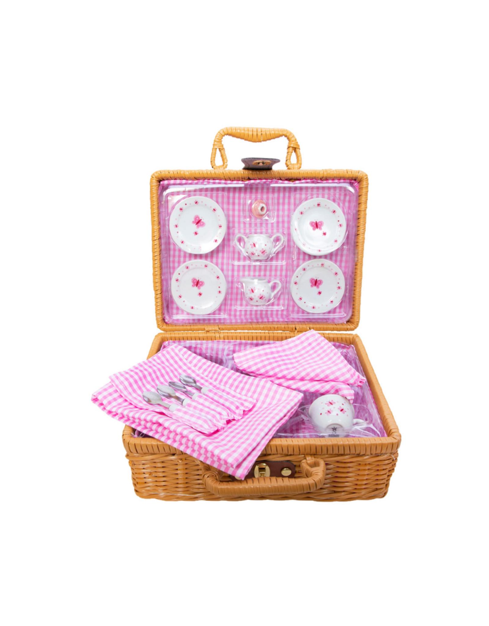 Schylling Porcelain Tea Set in Basket - Butterfly