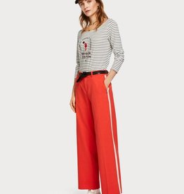 Maison Scotch Long sleeve French themed tee in stripes 150141