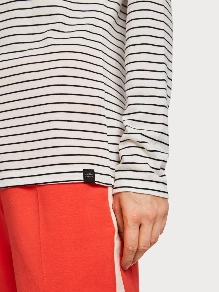 Maison Scotch Maison Scotch Striped Boat Neck T-Shirt