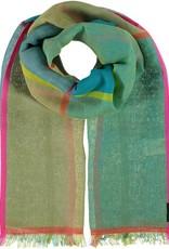 Fraas Fraas Bright Blocks Cotton Linen Blend Scarf