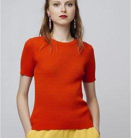Compania Fantastica Compania Fantastica Orange open stitch t-shirt