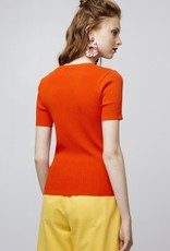 Compania Fantastica Orange open stitch t-shirt