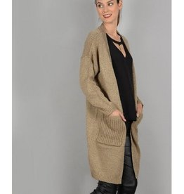 Molly Bracken Ladies knitted cardigan Golden beige