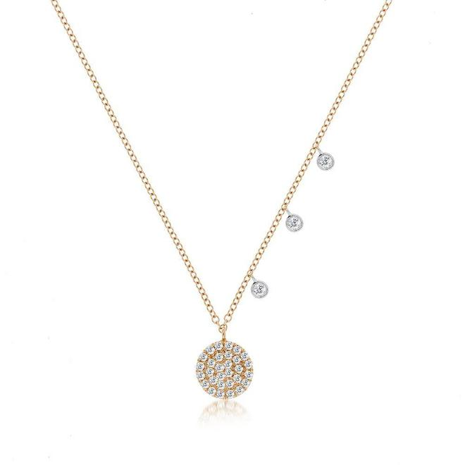Rose gold diamond disc pendant