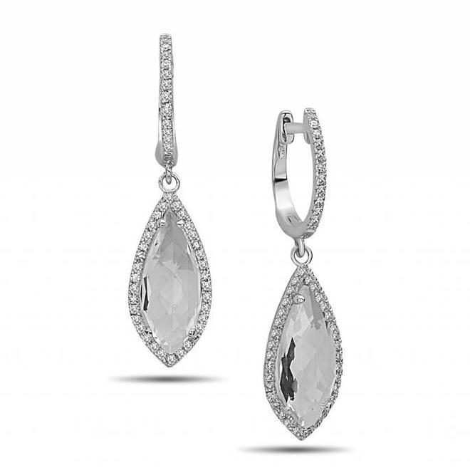 White topaz and diamond drop earrings