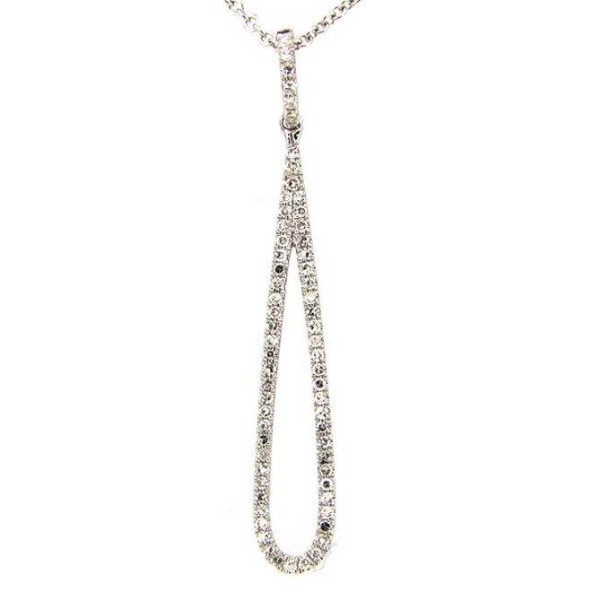 Diamond drop pendant- white gold