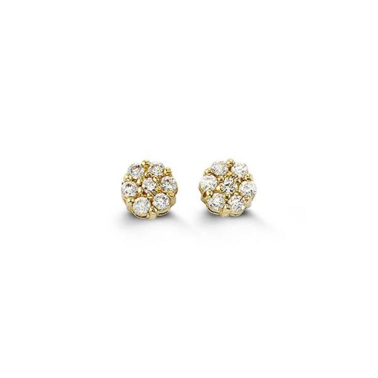 14K Yellow Gold Micropave Flower CZ Stud Earring