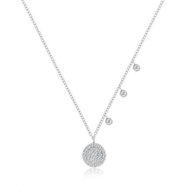 White gold diamond disc pendant