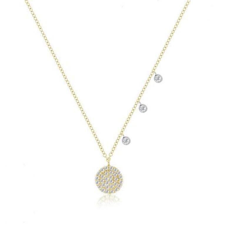 9a4557581e018 1N7176/YG, 14K YELLOW GOLD DIAMOND PAVE DISC PENDANT AND CHAIN, DIA ...