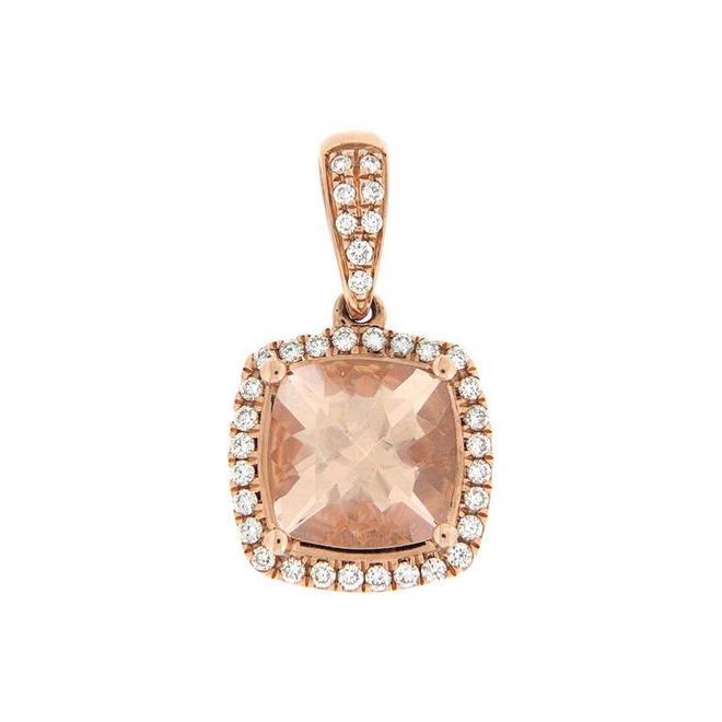 Cushion cut morganite and diamond halo pendant