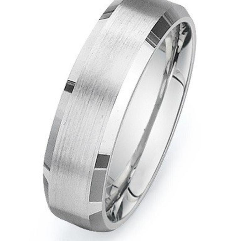 D300 Mens 14k White Gold Wedding Band 6 5mm Width 2 1mm Depth