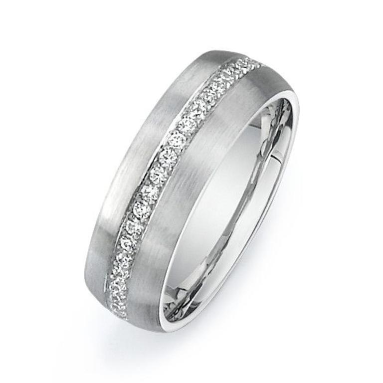 a72912b25 14K White gold mens wedding band with diamonds 3/4 down the band. 35Rbc'  0.38ctw. - Minichiello Jewellers
