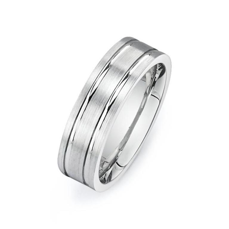 D069 14k White Gold Mens Wedding Band 6 5mm Width Minichiello