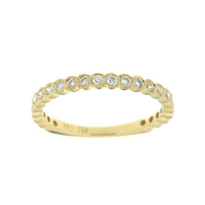 Yellow gold bezel set diamond stackable band