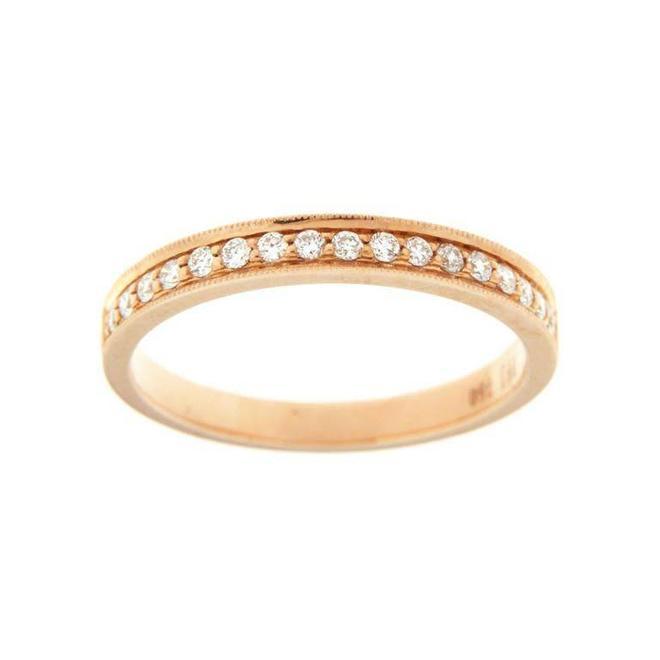 Rose gold diamond pave band