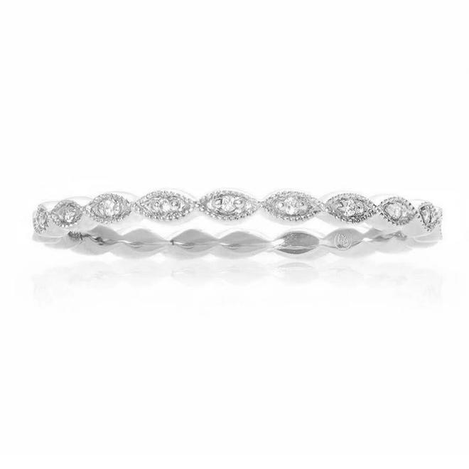 White gold mini pod diamond stackable band